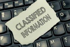 Begriffshandschrift, die Verschlusssache zeigt Streng geheim nicht autorisiertes Geschäftsfototext sensibler Daten stockfoto