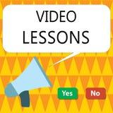 Begriffshandschrift, die Videolektionen zeigt Geschäftsfoto, das on-line-Bildungsmaterial für eine Thema Betrachtung und ein lear lizenzfreie abbildung