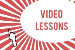 Begriffshandschrift, die Videolektionen zeigt Geschäftsfoto, das on-line-Bildungsmaterial für eine Thema Betrachtung und ein lear vektor abbildung