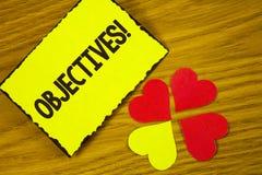 Begriffshandschrift, die Zielen Motivanruf zeigt Geschäftsfoto-Text Ziele planten erzielt zu werden wünschten Ziele wri stockfotografie