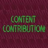 Begriffshandschrift, die zufriedenen Beitrag zeigt Präsentationsbeitrag des Geschäftsfotos von Informationen zu irgendwelchen stock abbildung