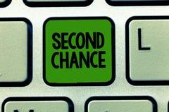 Begriffshandschrift, die zweite Chance zeigt Geschäftsfoto, das einen anderen Schuss wieder engagiert zum Geschäft gebend zur Sch lizenzfreie stockfotos