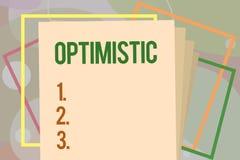 Begriffshandschriftdarstellen optimistisch Geschäftsfototext hoffnungsvoll und überzeugt hinsichtlich des zukünftigen positiven D lizenzfreie abbildung