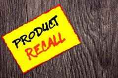 Begriffshandschrifttext, der Rückruf eines fehlerhaften Produktes zeigt Konzeptbedeutung Rückruf-Rückerstattungs-Rückkehr für die stockfotografie
