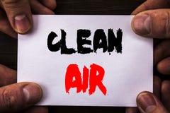 Begriffshandschrifttext, der reine Luft zeigt Konzept, das globale Umwelterhaltungen für die Industrie-Verschmutzung geschrieben  Stockfotografie