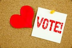 Begriffshandschrifttext-Titelinspiration, die Abstimmungskonzept für Abstimmungsstimme für die präsidentschaftswahl und die Liebe Stockfotos