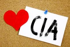 Begriffshandschrifttext-Titelinspiration, die CIA-Konzept für Abkürzung und die Liebe geschrieben auf klebrige Anmerkung, Anzeige Lizenzfreie Stockfotografie