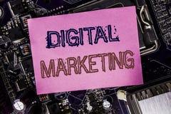 Begriffshandschrifttext-Titelinspiration, die Digital-Marketing zeigt Geschäftskonzept für das Internet, on-line, geschrieben auf Lizenzfreie Stockfotos