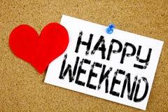 Begriffshandschrifttext-Titelinspiration, die glückliches Wochenendenkonzept für Feier des Feiertags-freien Tages und die Liebe a lizenzfreies stockbild