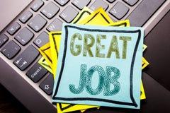 Begriffshandschrifttext-Titelinspiration, die großen Job zeigt Geschäftskonzept für die Erfolgs-Anerkennung geschrieben auf klebr lizenzfreie stockbilder
