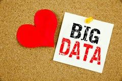 Begriffshandschrifttext-Titelinspiration, die großes Datenkonzept für Speichernetz-on-line-Server und die Liebe geschrieben auf S Stockbild