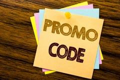 Begriffshandschrifttext-Titelinspiration, die Promo-Code zeigt Geschäftskonzept für Förderung für das on-line-Geschäft an geschri Stockfoto