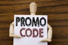 Begriffshandschrifttext-Titelinspiration, die Promo-Code zeigt Geschäftskonzept für Förderung für das on-line-Geschäft an geschri Stockfotografie