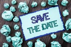Begriffshandschrifttext-Vertretung Abwehr das Datum Konzeptbedeutung Hochzeitstag-Einladungs-Anzeige geschrieben auf klebrige Anm Lizenzfreie Stockbilder