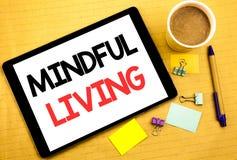 Begriffshandschrifttexttitel, der aufmerksames Leben zeigt Geschäftskonzept für das Leben-glückliche Bewusstsein geschrieben auf  Stockbild