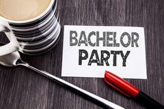 Begriffshandschrifttexttitel, der Jungesellen-Party zeigt Geschäftskonzept für Hirsch-Spaß Celebrate geschrieben auf klebriges Br Stockfotografie