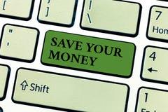 Begriffshandschriftvertretung Abwehr Ihr Geld Geschäftsfototext halten Ihre Spareinlagen in der Bank, oder der Vorrat, zum sie zu vektor abbildung