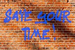 Begriffshandschriftvertretung Abwehr Ihre Zeit Der Geschäftsfototext, der Wege findet, beendete die Job schnelle Automatisierung stockfoto