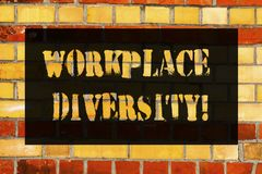 Begriffshandschriftvertretung Arbeitsplatz-Verschiedenartigkeit Geschäftsfoto, das unterschiedliche Renngeschlechts-Alterssexuell lizenzfreies stockfoto