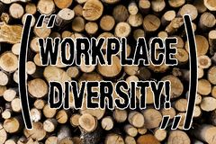 Begriffshandschriftvertretung Arbeitsplatz-Verschiedenartigkeit Geschäftsfoto, das unterschiedliche Renngeschlechts-Alterssexuell lizenzfreie stockbilder
