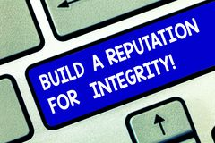 Begriffshandschriftvertretung bauen ein Ansehen für Integrität auf Die Geschäftsfotopräsentation erreichen das gute basierte Feed lizenzfreie stockbilder