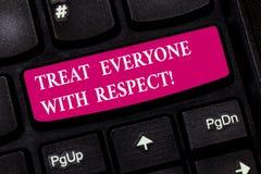 Begriffshandschriftvertretung behandeln jeder mit Respekt Die Geschäftsfotopräsentation ist zu anderen haben respektvoll stockfotos