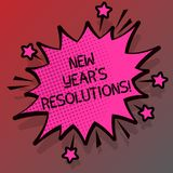Begriffshandschriftvertretung Beschlüsse neuen Jahr-S Geschäftsfoto visiert Präsentationsziel-Ziele Entscheidungen für folgende 3 vektor abbildung