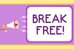 Begriffshandschriftvertretung Bruch geben frei Geschäftsfoto, das eine andere Weise des Sagens von Rettung aus Kettenfreiheitsgef stock abbildung