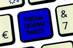 Begriffshandschriftvertretung Devisenmarkt Globaler dezentralisierter Handel des Geschäftsfoto-Textes von Währungen stockfoto