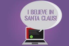 Begriffshandschriftvertretung, die ich an Santa Claus glaube Geschäftsfototext zum Haben von Glauben in der Weihnachtsfeiertagski lizenzfreie stockfotografie