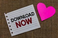 Begriffshandschriftvertretung Download jetzt Geschäftsfototext, zum von Programmen oder von Informationen in ein anderes Gerät Pi stockbilder