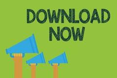 Begriffshandschriftvertretung Download jetzt Geschäftsfototext, zum von Programmen oder von Informationen in eine andere Gerät Ha stockbild