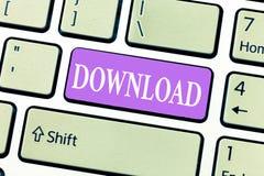 Begriffshandschriftvertretung Download Präsentationskopiendaten von einem Computersystem andere des Geschäftsfotos gewöhnlich lizenzfreies stockbild