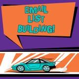 Begriffshandschriftvertretung E-Mail-Listen-Gebäude Geschäftsfototext erlaubt die Verteilung von Informationen analysisy lizenzfreie abbildung