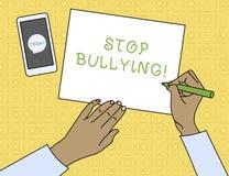 Begriffshandschriftvertretung Endeinsch?chterung Gesch?ftsfoto-Texthalt das aggressive Verhalten unter der Schule gealtert stock abbildung