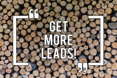 Begriffshandschriftvertretung erhalten mehr Führungen Geschäftsfototext suchen nach neuem Kundenkunden-Nachfolger Marketing vektor abbildung