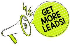 Begriffshandschriftvertretung erhalten mehr Führungen Geschäftsfototext suchen nach neuer Kundenkunden-Nachfolger Marketingstrate stock abbildung