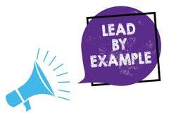 Begriffshandschriftvertretung Führung durch Beispiel Geschäftsfototext ist ein Mentor, den Führer den Regeln geben Beispiele Trai stock abbildung