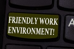 Begriffshandschriftvertretung freundliches Arbeitsumfeld Präsentationsintegrierendes stärkeres soziales des Geschäftsfotos lizenzfreies stockfoto