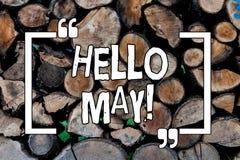 Begriffshandschriftvertretung hallo Mai Geschäftsfoto Präsentationsbeginnen ein neuer Monat April ist in dem hölzernen Frühling lizenzfreie stockfotos