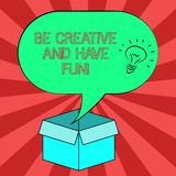 Begriffshandschriftvertretung ist kreativ und hat Spaß Geschäftsfoto, welches die glücklichen schaffenden neuen Sachen genießen d lizenzfreie abbildung