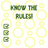 Begriffshandschriftvertretung kennen die Regeln Die Geschäftsfotopräsentation verstehen, dass Bedingungen legal erhalten vektor abbildung