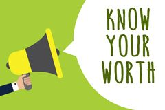 Begriffshandschriftvertretung kennen Ihren Wert Die Geschäftsfotopräsentation berücksichtigt persönlicher Wert verdientes Einkomm stock abbildung