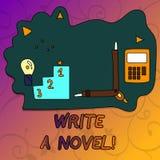 Begriffshandschriftvertretung schreiben einen Roman Die Geschäftsfotopräsentation ist kreativ, etwas Literaturerfindung schreiben stock abbildung
