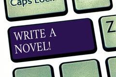 Begriffshandschriftvertretung schreiben einen Roman Die Geschäftsfotopräsentation ist kreativ, etwas Literaturerfindung schreiben lizenzfreies stockbild