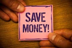 Begriffshandschriftvertretung speichern Geld-Motivanruf Geschäftsfotos, die Text Ausgaben verringern, machen ein Kapital von earn stockfoto