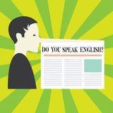 Begriffshandschriftvertretung sprechen Sie Englishquestion Geschäftsfoto Präsentationsc$sprechen, unterschiedlichen Sprachenmann  lizenzfreie stockfotos