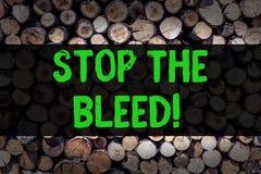 Begriffshandschriftvertretung stoppen die Blutung Geschäftsfoto, das ärztliche Behandlung für das Stoppen des Bluts zur Schau ste stockbilder