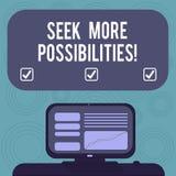 Begriffshandschriftvertretung suchen mehr Möglichkeiten Geschäftsfoto Präsentationssuche oder die Gelegenheiten von finden vektor abbildung