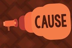 Begriffshandschriftvertretung Ursache Geschäftsfototext Person Thing, der ein Aktionsphänomen verursacht und stock abbildung